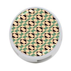 Brown Green Rectangles Pattern 4 Port Usb Hub (two Sides) by LalyLauraFLM