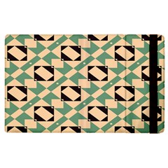 Brown Green Rectangles Pattern Apple Ipad 3/4 Flip Case by LalyLauraFLM