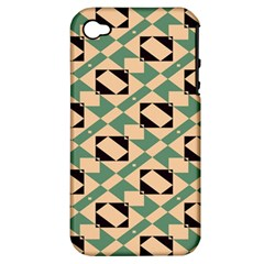 Brown Green Rectangles Pattern Apple Iphone 4/4s Hardshell Case (pc+silicone) by LalyLauraFLM