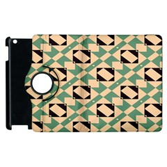 Brown Green Rectangles Pattern Apple Ipad 3/4 Flip 360 Case by LalyLauraFLM