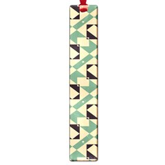 Brown Green Rectangles Pattern Large Book Mark by LalyLauraFLM