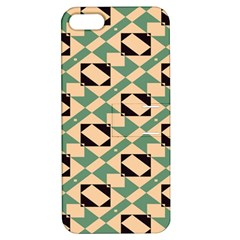 Brown Green Rectangles Pattern Apple Iphone 5 Hardshell Case With Stand by LalyLauraFLM