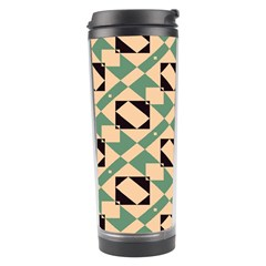 Brown Green Rectangles Pattern Travel Tumbler by LalyLauraFLM