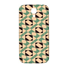Brown Green Rectangles Pattern Samsung Galaxy S4 I9500/i9505  Hardshell Back Case by LalyLauraFLM
