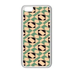 Brown Green Rectangles Pattern Apple Iphone 5c Seamless Case (white) by LalyLauraFLM