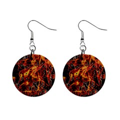 On Fire Print Mini Button Earrings by dflcprintsclothing