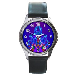 Insect Round Leather Watch (silver Rim)