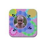 Bees and Flowers Rubber Coaster - Rubber Coaster (Square)