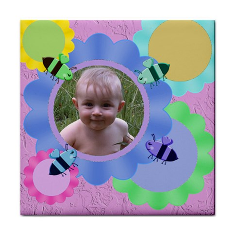 Bees And Flowers Tile Coaster By Chere s Creations Front