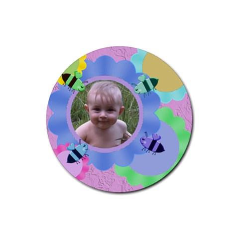 Bees And Flowers 4 Round Rubber Coaster By Chere s Creations   Rubber Round Coaster (4 Pack)   G26g0v149yb4   Www Artscow Com Front