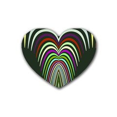 Symmetric Waves Rubber Coaster (heart) by LalyLauraFLM
