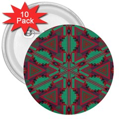 Green Tribal Star 3  Button (10 Pack) by LalyLauraFLM