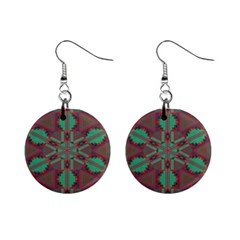 Green Tribal Star 1  Button Earrings by LalyLauraFLM