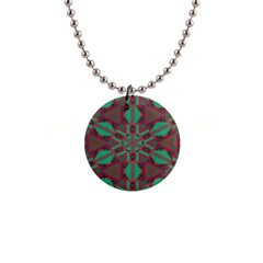 Green Tribal Star 1  Button Necklace by LalyLauraFLM