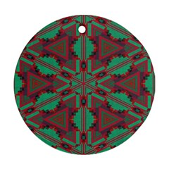 Green Tribal Star Round Ornament (two Sides) by LalyLauraFLM