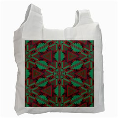 Green Tribal Star Recycle Bag (one Side) by LalyLauraFLM