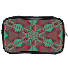 Green Tribal Star Toiletries Bag (two Sides) by LalyLauraFLM