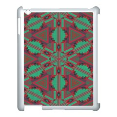 Green Tribal Star Apple Ipad 3/4 Case (white) by LalyLauraFLM