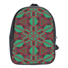 Green Tribal Star School Bag (xl) by LalyLauraFLM