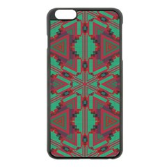Green Tribal Star Apple Iphone 6 Plus Black Enamel Case by LalyLauraFLM