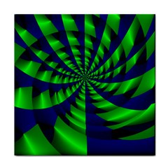Green Blue Spiral Tile Coaster by LalyLauraFLM