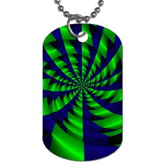 Green Blue Spiral Dog Tag (two Sides) by LalyLauraFLM