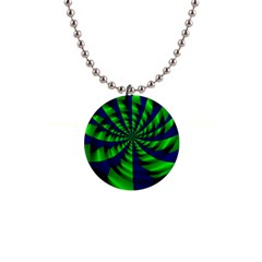 Green Blue Spiral 1  Button Necklace by LalyLauraFLM