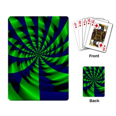 Green Blue Spiral Playing Cards Single Design by LalyLauraFLM