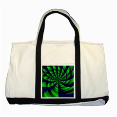 Green Blue Spiral Two Tone Tote Bag by LalyLauraFLM