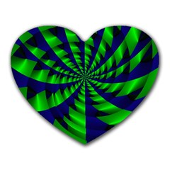 Green Blue Spiral Heart Mousepad by LalyLauraFLM