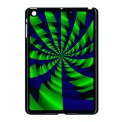 Green Blue Spiral Apple Ipad Mini Case (black) by LalyLauraFLM