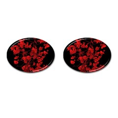 Dark Red Floral Print Cufflinks (oval) by dflcprintsclothing