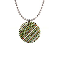 Colorful Tribal Geometric Print Button Necklace