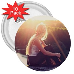 Boho Blonde 3  Button (10 Pack)