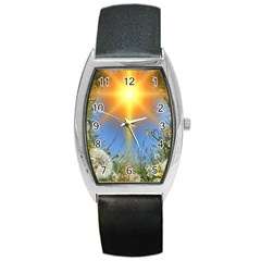 Dandelions Tonneau Leather Watch by boho