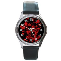 Dark Red Flower Round Leather Watch (silver Rim) by dflcprints
