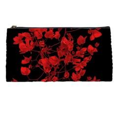 Dark Red Flower Pencil Case by dflcprints