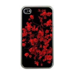 Dark Red Flower Apple Iphone 4 Case (clear) by dflcprints