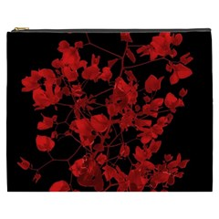 Dark Red Flower Cosmetic Bag (xxxl) by dflcprints