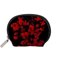 Dark Red Flower Accessory Pouch (small) by dflcprints