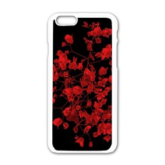 Dark Red Flower Apple Iphone 6 White Enamel Case by dflcprints