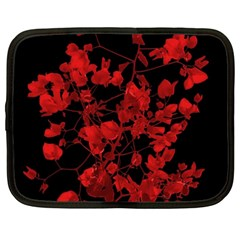 Dark Red Flower Netbook Sleeve (xxl) by dflcprints