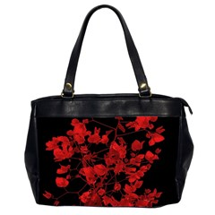 Dark Red Flower Oversize Office Handbag (two Sides) by dflcprints