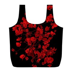 Dark Red Flower Reusable Bag (l) by dflcprints