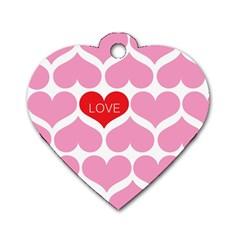 One Love Dog Tag Heart (one Sided)  by Kathrinlegg