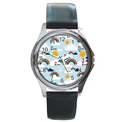 Be Happy Repeat Round Leather Watch (silver Rim) by Kathrinlegg