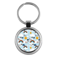 Be Happy Repeat Key Chain (round) by Kathrinlegg