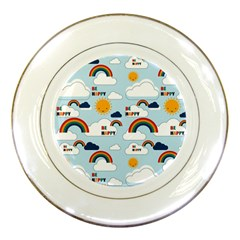 Be Happy Repeat Porcelain Display Plate by Kathrinlegg