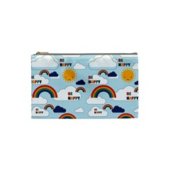 Be Happy Repeat Cosmetic Bag (small) by Kathrinlegg