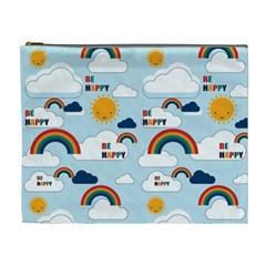 Be Happy Repeat Cosmetic Bag (xl) by Kathrinlegg